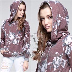 Burgundy floral hoodie